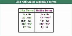 Terms In Algebra Like Terms And Unlike Terms Similar And Dissimilar