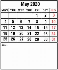 Calendar 2020 For Word Free Blank May 2020 Printable Calendar Pdf Excel Amp Word