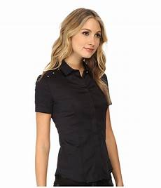 sleeve button up versace sleeve button up blouse in nero black