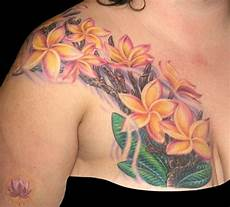 Plumeria Designs Gallery Plumeria Design On Right Chest To Shoulder