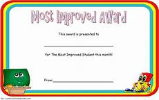 Most Improved Award Most Improved Student Certificate 10 Template Designs Free