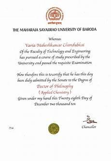 Ph D Degree Phd Degree Certificate