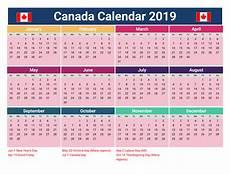 2020 Calendar Canada Printable Calendar 2019 With Holidays Canada Printable