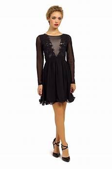 black sleeve dress wars black sleeve sheer applique detail fit and flare dress