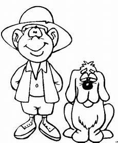 junge mit gelangweiltem hund ausmalbild malvorlage