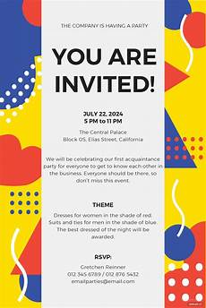 Party Invitation Template Free Email Party Invitation Template In Ms Word Publisher