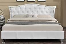 diamante white faux leather designer bed frame