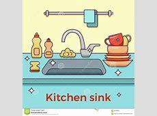 Diskho med kitchenware vektor illustrationer. Illustration av vattenkran   83599943