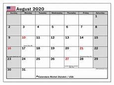 August 2020 Calendar With Holidays Calendar August 2020 Usa Michel Zbinden En