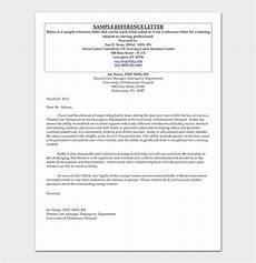 Form Of Reference Letter Nursing Reference Letter 16 Sample Letters