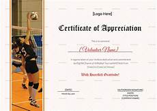 Volleyball Certificate Templates Volleyball Appreciation Certificate Design Template In Psd