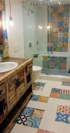 patchwork cement tile bathroom floor installation from