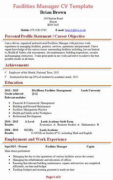 Facilities Manager Resume Facilities Manager Cv Template 1