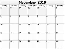 November Template November 2019 Blank Calendar Collection