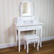 white dressing table 4 drawers mirror stool bedroom