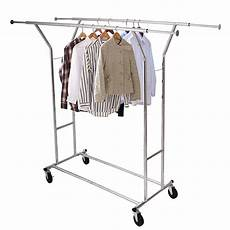 mobile clothes hanging rack single 250lb rail portable clothes hanger rolling
