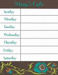 Free Weekly Menu Templates Therapeutic Crafting Weekly Menu Printable