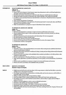 Warehouse Associate Resume Samples Warehouse Associate Resume Sample Louiesportsmouth Com