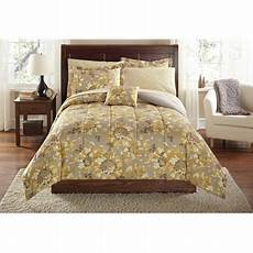 mainstays yellow grey floral bed in a bag coordinated