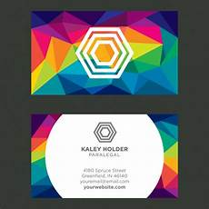 Colorful Business Cards Colorful Polygonal Business Card Vector Free Download