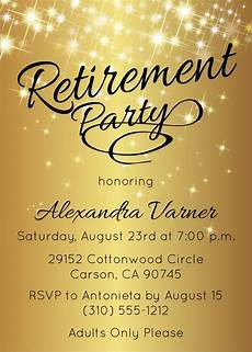 Template For Retirement Party Invitation Retirement Party Invitation Gold Sparkly By Announceitfavors