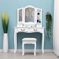 65 wood white vanity makeup dressing table set with