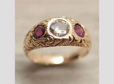 Circa 1890 Hand Carved Diamond and Purple Sapphire Gypsy