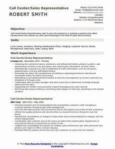 Objective Call Center Resume Call Center Sales Representative Resume Samples Qwikresume