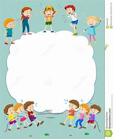 Children Playing Background Border Template With Happy Kids Playing In Background