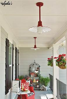 Farmhouse Front Porch Lights S Farmhouse Style Front Porch With Pops Of Red