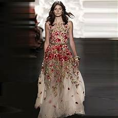 fashion show vintage embroidery floral organza dress 2017