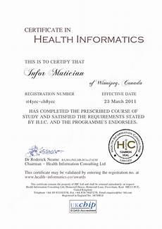 Health Certificate Sample Health Informatics Certificate