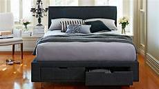 halo bed frame with storage charcoal domayne