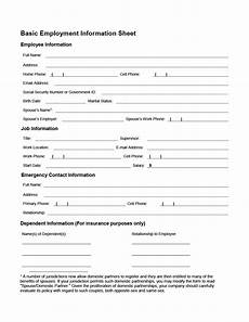 Employment Contact Form 47 Printable Employee Information Forms Personnel