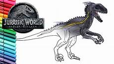 how to draw jurassic world indoraptor dinosaur color