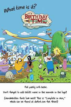 Adventure Time Party Invitations Free Template Adventure Time Birthday Invitation
