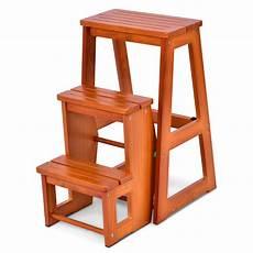 folding multi functional 3 tier ladder wood step stool