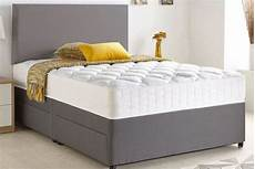 grey chenille divan bed with memory mattress optional
