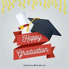 Graduation Card Background Happy Graduation Background With Cap And Diploma Free Vector