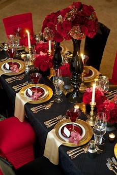 picture of a gothic wedding tablescape done in black red