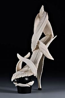 Designer Shoes With Feathers Shoes Carved In Wood High Heel Art Shoes Wood Carvings