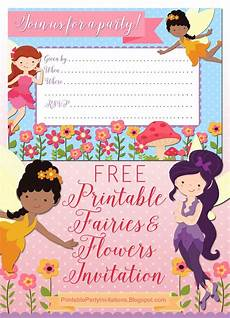 Fairy Party Invites Free Printable Fairies And Flowers Party Invitation