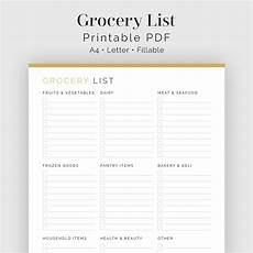Categorized Grocery List Grocery List With Categories Printable Pdf Meal Planner