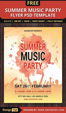Free Party Flyer Template Free Summer Music Party Flyer Psd Template Designyep