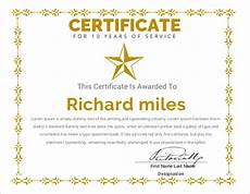 Years Of Service Certificate Certificate Templates