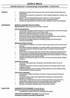 Example Management Resume Restaurant Manager Resume Example