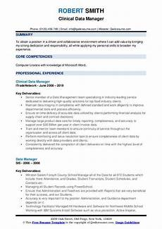 Clinical Data Manager Resumes Data Manager Resume Samples Qwikresume