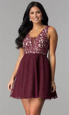 junior size wine a line homecoming dress promgirl