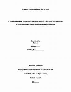 Title Page Research Paper Title Of The Research Proposal