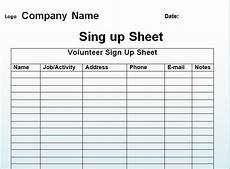 Printable Sign Up Sheets Free Sign Up Sheet Template Excel And Word Excel Tmp